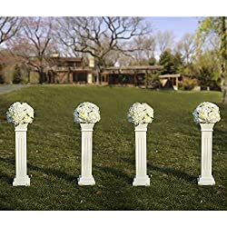 "Cloud Mountain 4 PACK Roman Venetian Decoration Wedding Ceremonies Stage Props Column Holds Flower Plates Pillars 26"" Tall, White"