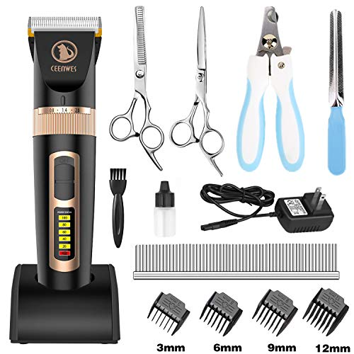 Ceenwes Dog Clippers Heavy Duty Low Noise Rechargeable Cordless Pet Clippers Professional Dog Grooming Clippers with…