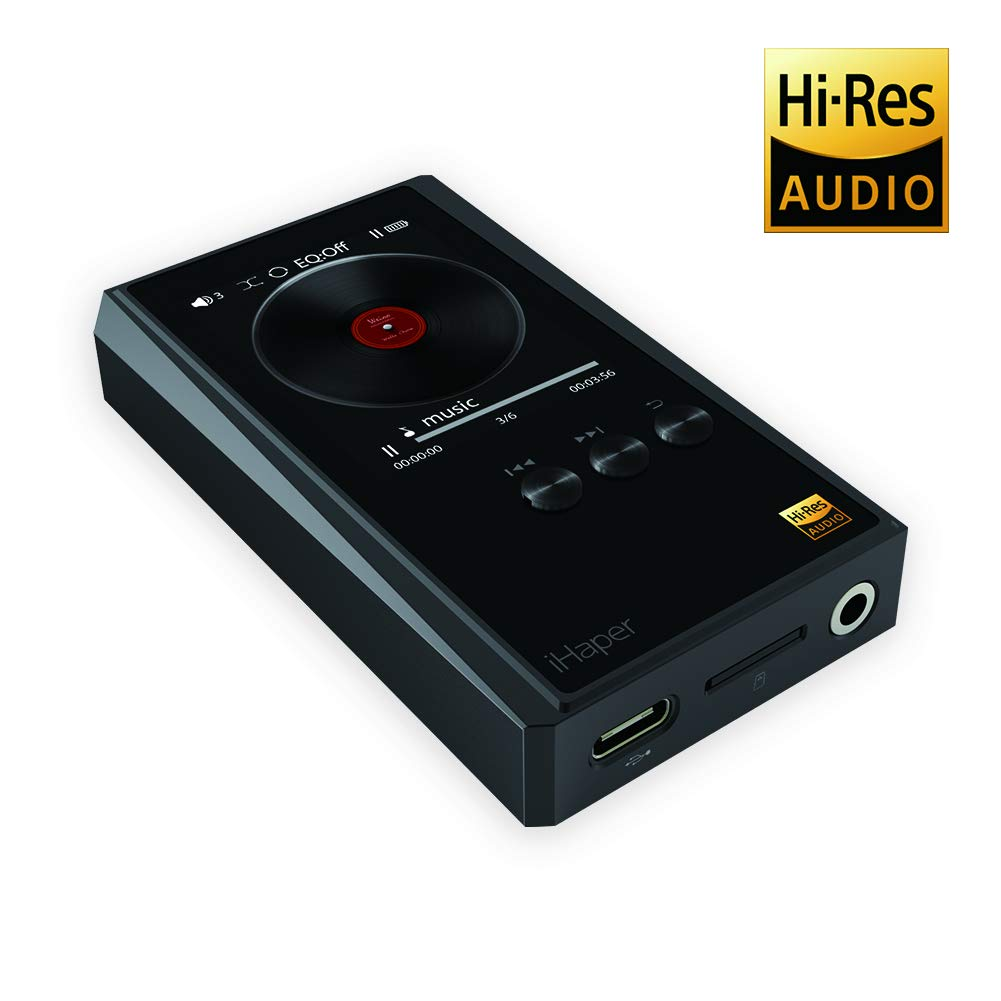 Audio Player, iHaper Hi-Res Lossless Audio Digital Sound Hi-Fi Music Player 20 HoursPlayback 2-inch IPS True-color TFT Display Screen Support DSD MP3 WMA APE FLAC WAV ACC OGG ALAC Audio Formats Expand