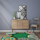 Durable Rug riental Motif with Mix of Hippie Retro Circle Morocco Mosaic Lines Sacred Holy for Bathrooms or Offices W59 x L71 INCH