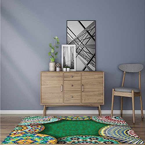 Durable Rug riental Motif with Mix of Hippie Retro Circle Morocco Mosaic Lines Sacred Holy for Bathrooms or Offices W59 x L71 INCH by SCOCICI1588
