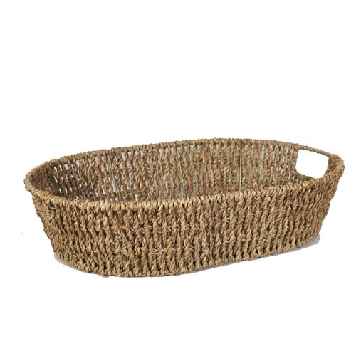 The Lucky Clover Trading Oval Sea Grass Tray Basket, Natural
