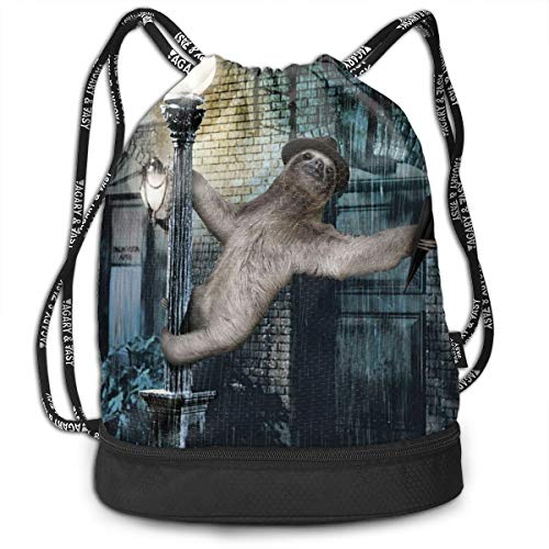 Sloth Sing In The Rain Drawstring Gym Sack Sport Bag Printed School Backpack Travel Rucksack ()