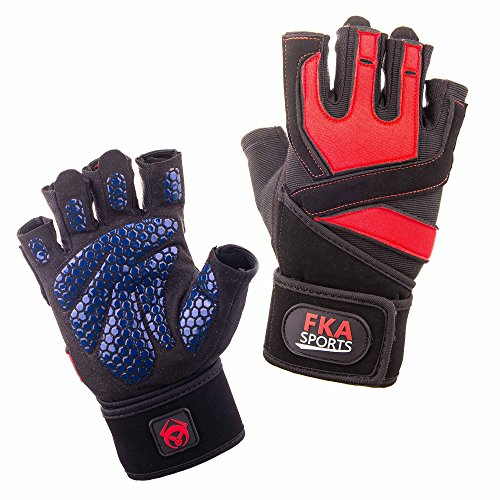 FKA Sports - Best Gym Gloves for Training - For Weight Lifting Grips - For Man & Women - Ultralight, Breathable & Durable Gloves with Anti-slip padded