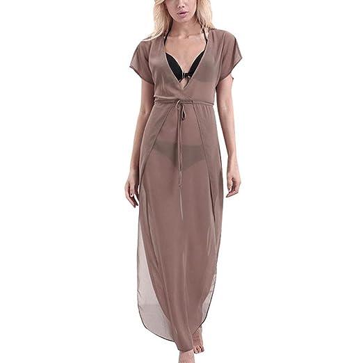 f61b084664a TOPUNDER Women Sexy Translucent V-Neck Short Sleeve Boho Long Maxi Party  Dress (S