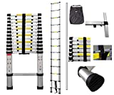Todeco - Telescopic ladder, Foldable Ladder - Maximum load: 330 lbs - Number of steps: 13 - 12.5 feet, Extra gap, FREE Carry bag, EN 131-6