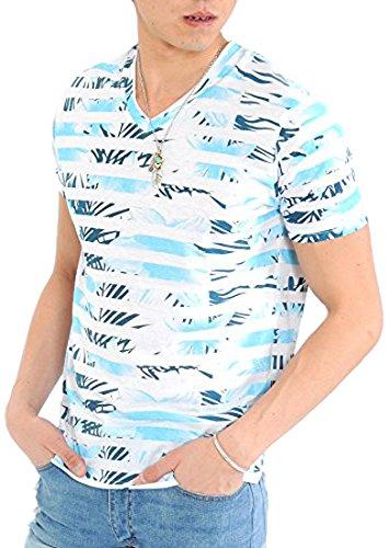 エンドウにもかかわらず勃起(スペイド) SPADE Tシャツ メンズ 半袖 プリント ボタニカル 総柄 花柄 ボーダー Vネック リゾート 【e153】