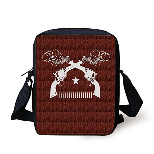 - Western,Dual Revolvers with Swirled Lines Ornate Details Grunge Star and Line of Bullets Decorative,Redwood White Print Kids Crossbody Messenger Bag Purse