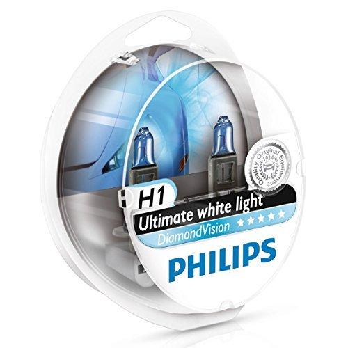 Uk Hid Light - Philips Diamond Vision H1 5000K Ultimate White Light 12V 55W (Pack of 2) 12258DVS2