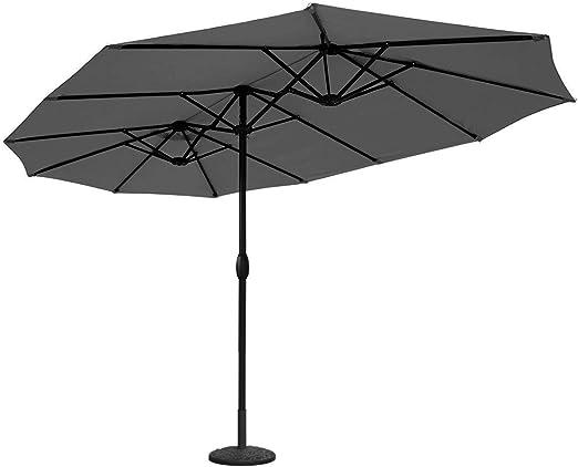 Sekey® Aluminio Sombrilla Parasol de Doble Juego para terraza jardín Playa Piscina Patio diámetro 460 cm x 270 cm Protector Solar UV50+ Gris: Amazon.es: Jardín