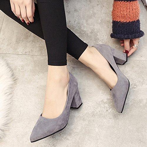 Xue Qiqi Tipp Satin Schuhe mit hohen Absätzen flachen wilden Mund dick mit wilden flachen einzelne Schuhe, Arbeitsschuhe, 34, Grau - c96417