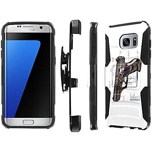 S7 Edge / GS7 Edge [5.5 Screen] Case, [NakedShield] [Black/Black] Heavy Duty Holster Armor Tough Case - [Army Gun] for Samsung Galaxy S7 Edge / GS7 Edge [5.5 Sales