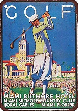 Liz66Ward Golf at Miami Biltmore Hotel Metal Signs Vintage Retro Home Wall Art Decor Wall Plaque Metal Tin Sign for Men Cave