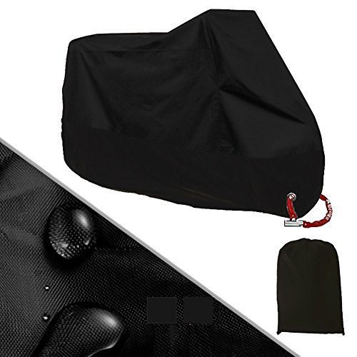FANCYLEO Waterproof Motorcycle Cover, Breathable Universal Outdoor Uv Protector Cruisers Touring Bike Rain Dustproof Motorcycle Cover for Scooter Covers(L Black 4) ()