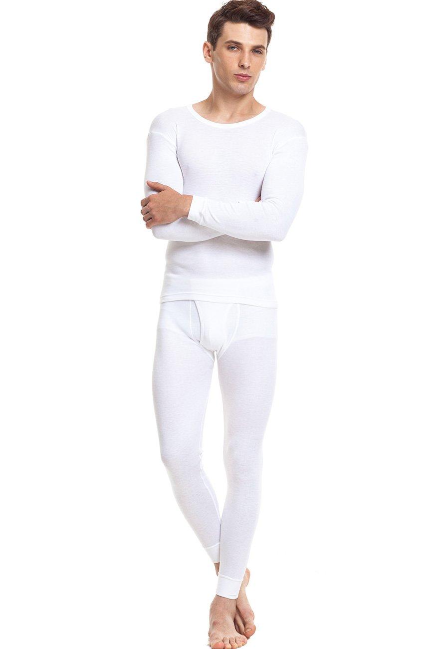 SANQIANG Men's Soft Cotton Thermal Underwear Set Top & Bottom Long Johns Base Layer (L, White)