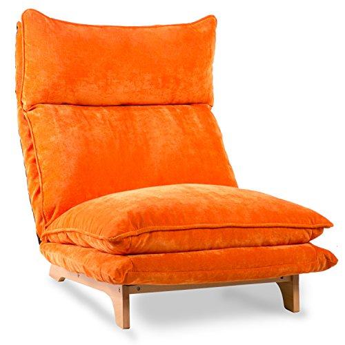 Harper & Bright Designs Adjustable Folding Sofa Lounge Sofa Chair Floor Lazy Sofa (Orange)