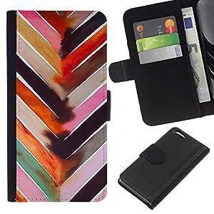 [Neutron-Star] Modelo colorido cuero de la carpeta del tirón del caso cubierta piel Holster Funda protecció Para Apple iPhone 5C [Patrón de la acuarela en colores pastel Líneas]