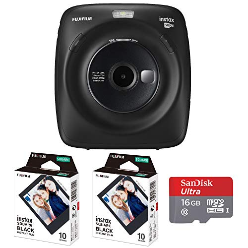 Fujifilm Instax Square SQ20 Hybrid Instant Camera Film Double Pack (Black Frame) & 16gb Memory Card Bundle (Black)