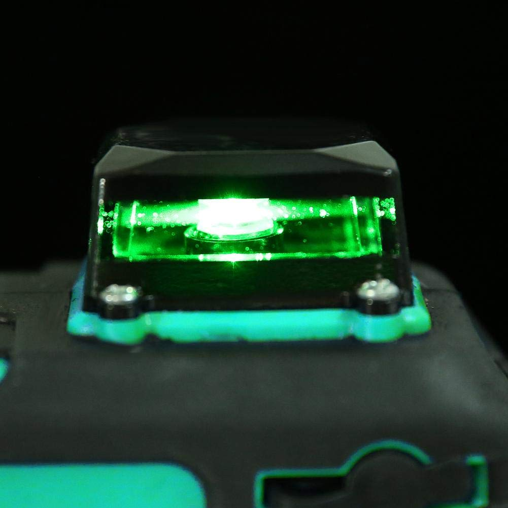 Akozon Nivel l/áser 12 L/íneas 3 Verde 360 grados horizontales y verticales de l/áser Autonivelante 50M IP54 Viga verde