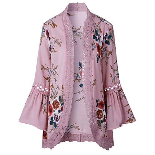 dentelle Uojack femme floral Cardigan avec en manches rose imprimé ouvert courtes à clair TqqAg64wYa