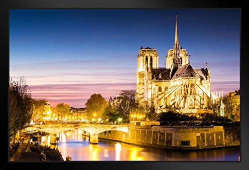 Notre Dame Cathedral at Dusk Paris France Photo Art Print Framed Poster 20x14 inch