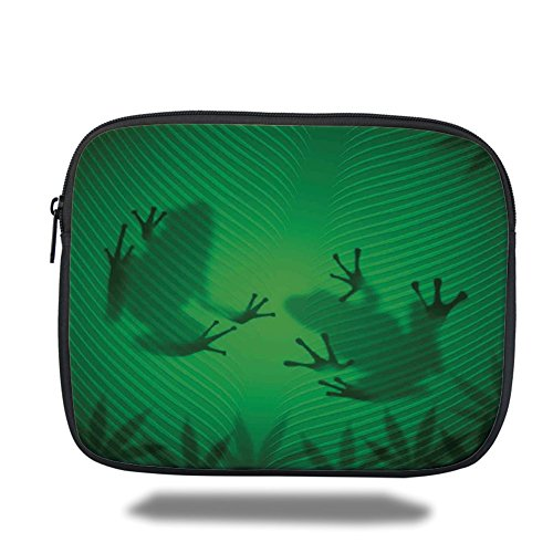 Laptop Sleeve Case,Animal Decor,Frog Shadow Silhouette on the Banana Tree Leaf in Tropical Lands Jungle Light Games Graphic,Green,iPad Bag by iPrint