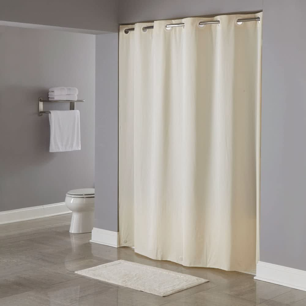 "Hookless Shower Curtain White 71/"" x 74/"" Vinyl Vision See Thru Window 8 Gauge"