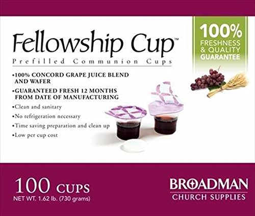 Fellowship cup,Prefilled communion cups juice/wafer-100 cups (net wt.1.62 lb) by BROADMAN CHURCH SUPPLIES from Broadman Church Supplies