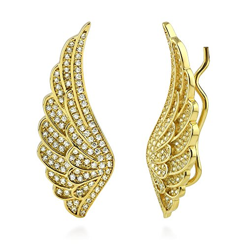 BERRICLE Yellow Gold Flashed Sterling Silver Cubic Zirconia CZ Angel Wings Fashion Ear (Heavenly Angel Pins)