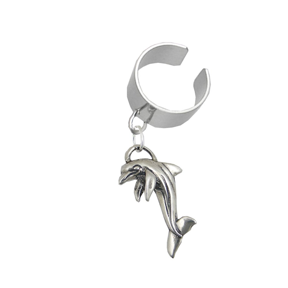 Sterling Silver Dolphin Dangle Ear Cuff