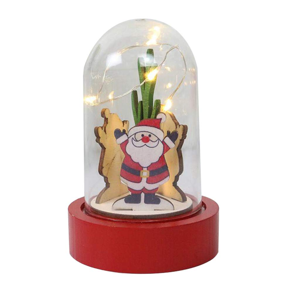 Christmas Decorations Wooden Lights Transparent Plastic Cover Light Ornaments for Xmas Party Table Decor Toy for Kids (A)