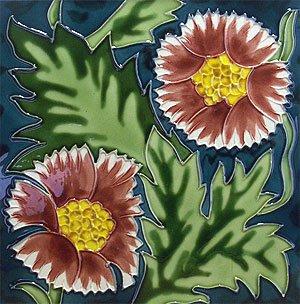 Decorative Ceramic Wall Art Tile Flower 4x4