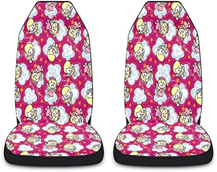CUXWEOT Angels Stars Car Seat Covers for Front Set of 2 Vehicle Seat Protector Car Pet Mat Fit Most Car,Truck,SUV,Van