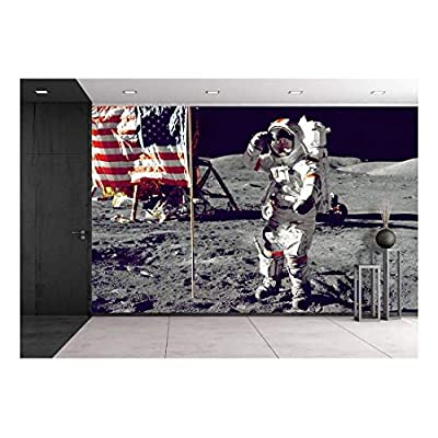 Astronauts on The Moon - Removable Wall Mural | Self-Adhesive Large Wallpaper - 66x96 inches