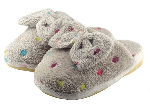 Aisun Womens Comfy Lovely Bowknot Indoor House Slippers Gray r22nG