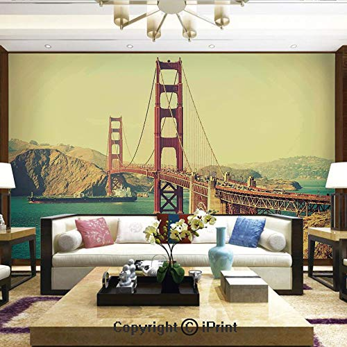 Mural Wall Art Photo Decor Wall Mural for Living Room or Bedroom,Old Film Featured Golden Gate Bridge Suspension Urban Path Construction Scenery,Home Decor - 100x144 inches