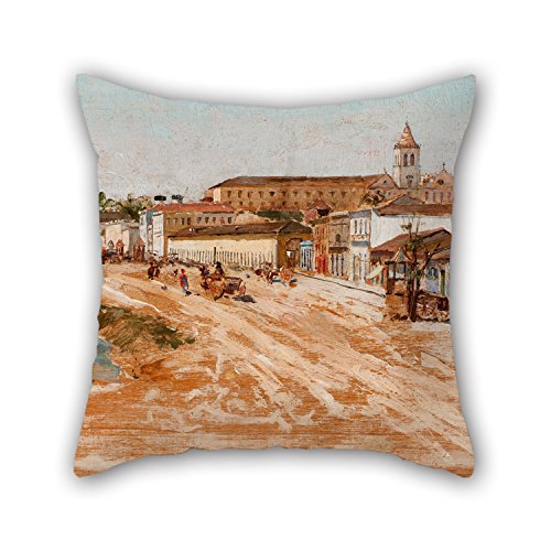 The Oil Painting Antonio Ferrigno - Rua 25 De Mar?o Throw Pillow Case Of 20 X 20 Inches / 50 By 50 Cm Decoration Gift For Lover Sofa Outdoor Teens Girls Seat Kids Room (2 Sides) (Del Mar Sectional Sofa)