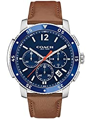 COACH Men's Bleecker Sport Leather Matte Navy Watch