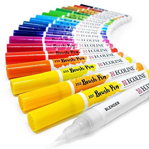 Royal Talens Ecoline liquide aquarelle Dessin Peinture Brosse stylos–Lot de 20en plastique Portefeuille