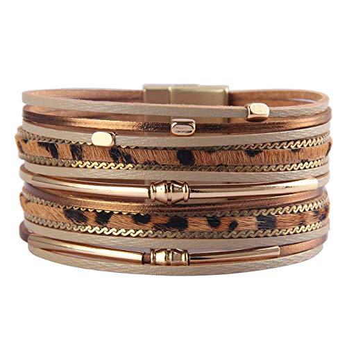 HUA JU Leopard Wrap Bracelet Leather Cuff Bracelet Layered Bracelets Stacking Bracelets