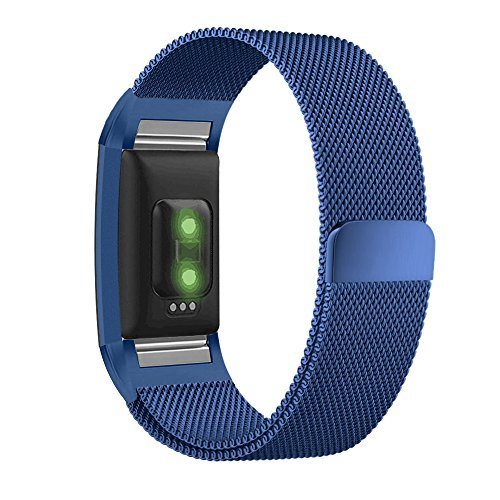 UMTELE for Fitbit Charge 2 Band, Milanese Loop Stainless Steel Metal Bracelet Strap with Unique Magnet Lock, No Buckle Needed for Fitbit Charge 2 HR Fitness Tracker Blue Small