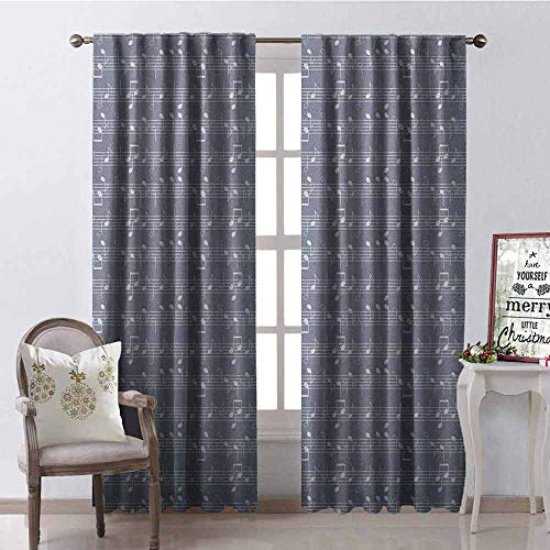 Gloria Johnson Grey 99% Blackout Curtains Piano Music Clay Motif with Various Notes Symbols Beats Melody Rhythm Harmony Jazz for Bedroom- Kindergarten- Living Room W42 x L63 Inch Ash White ()