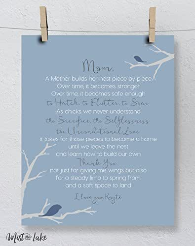 ... com: Mom Gift, Mothers Day Art Print Personalized Nest Poem: Handmade