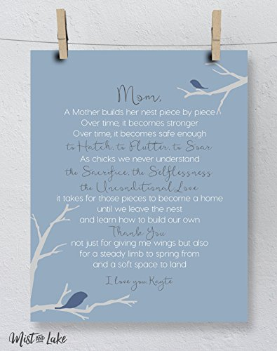 Mom Gift, Mother's Day Art Print Personalized Nest Poem
