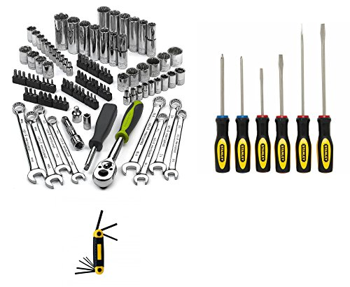 Best Socket & Wrench Set PLUS for Home Improvement | Craftsman Evolv 101pc Mechanics Tool Kit | Guaranteed | Stanley 6pc Standard Screwdriver Set | Top Rated - #1 Seller | Includes FREE Hex Key Set