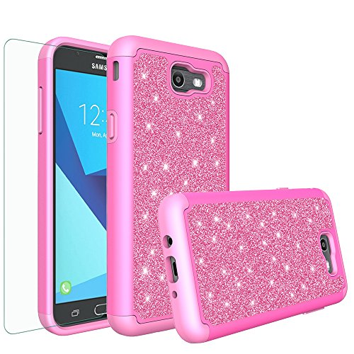 Galaxy J7v Case, Galaxy Halo Case, Galaxy J7 Perx Case, Galaxy J7 Prime, Galaxy J7 Sky Pro Case Glitter Bling Heavy Duty Shock Proof Hybrid Case with [HD Screen Protector] Protector - Hot (Hot Pink Protector Case)