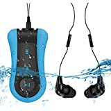 8GB Waterproof MP3 Player Clip, Comes Waterproof Headphone & Extension Cord Swimming, Running Sports, AGPTEK S12, Blue