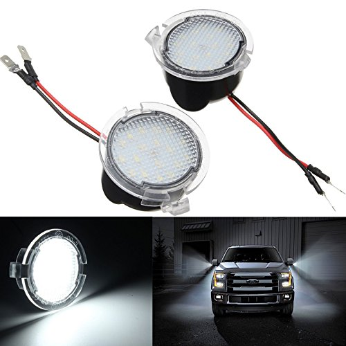 2 Piece Lincoln Navigator - Xotic Tech for Ford, LED Side Mirror Puddle Lights Assembly for Ford F150 Raptor Edge Explorer Flex Taurus Lincoln Navigator Mark LT MKX, Error Free High Power - Super White 18-LED, 2 Pieces