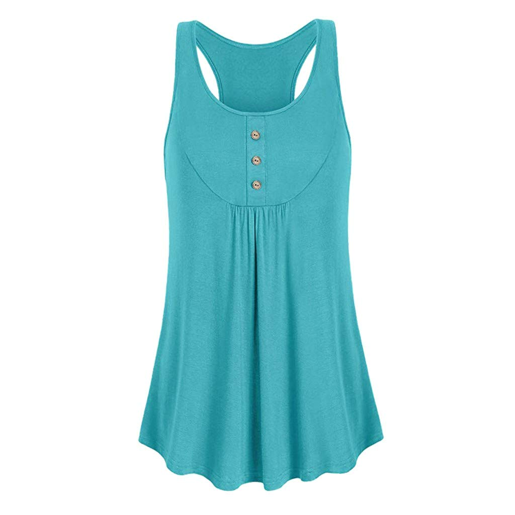 NUWFOR Womens Sleeveless Round Neck Loose Fit Workout Tank Top Button Sport Vest(Green,US S Bust:33.4'')