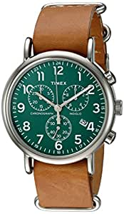 Timex Unisex TWC066500 Weekender Chrono Green/Tan Double-Layered Leather Slip-Thru Strap Watch
